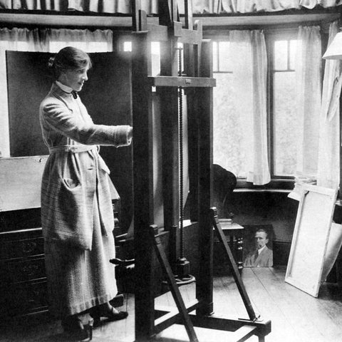Mabel at work at home in her studio