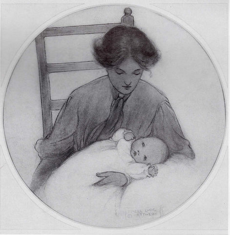 Self-portrait of Mabel with her daughter, Peggy, 1909