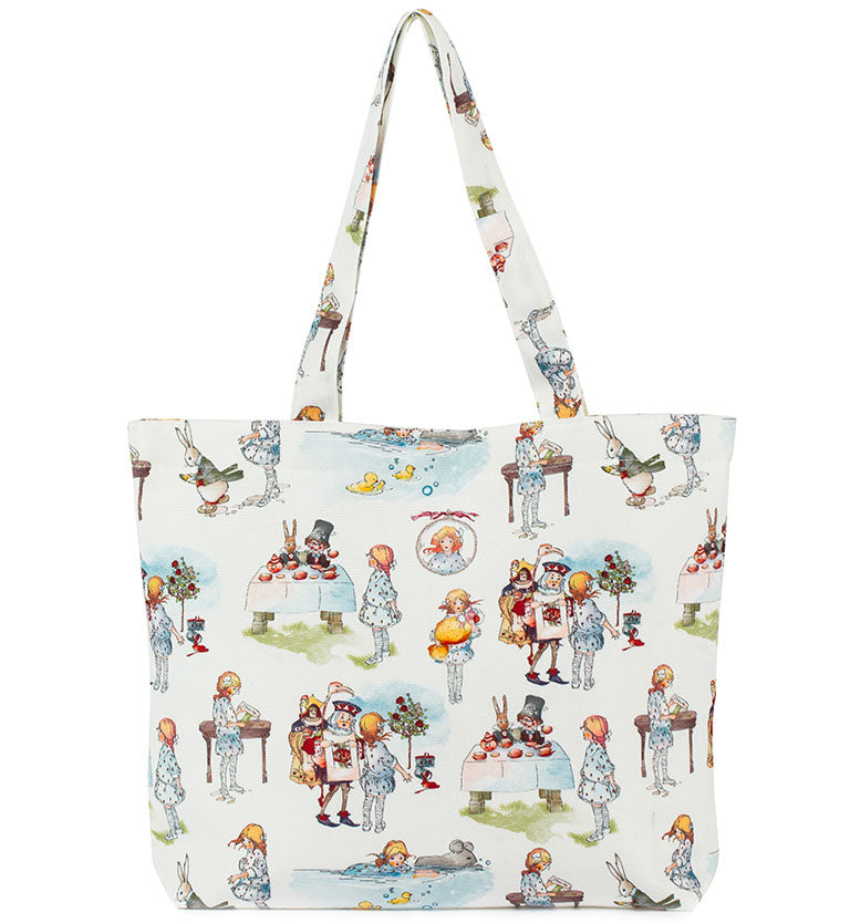 Mabel Lucie Attwell Canvas snap closure tote bag from the Alice in Wonderland collection