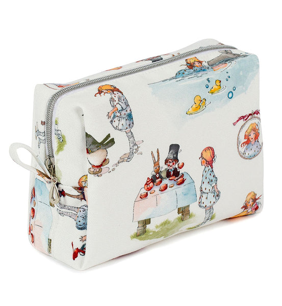 Mabel Lucie Attwell Canvas travel make up bag from the Alice in Wonderland collection