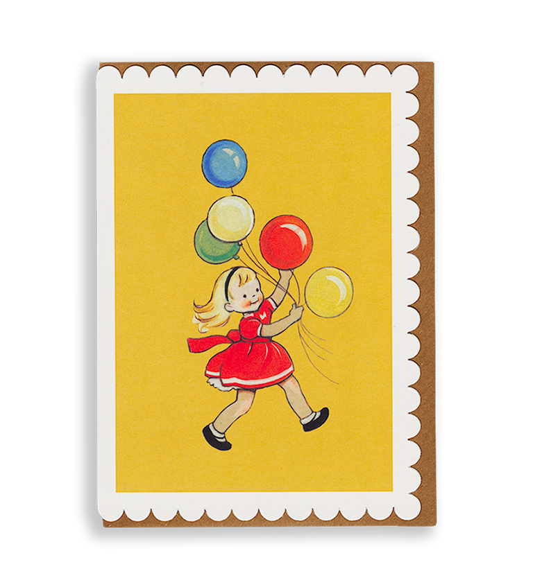 Mabel Lucie Attwell Up and away! Balloon Girl greetings card