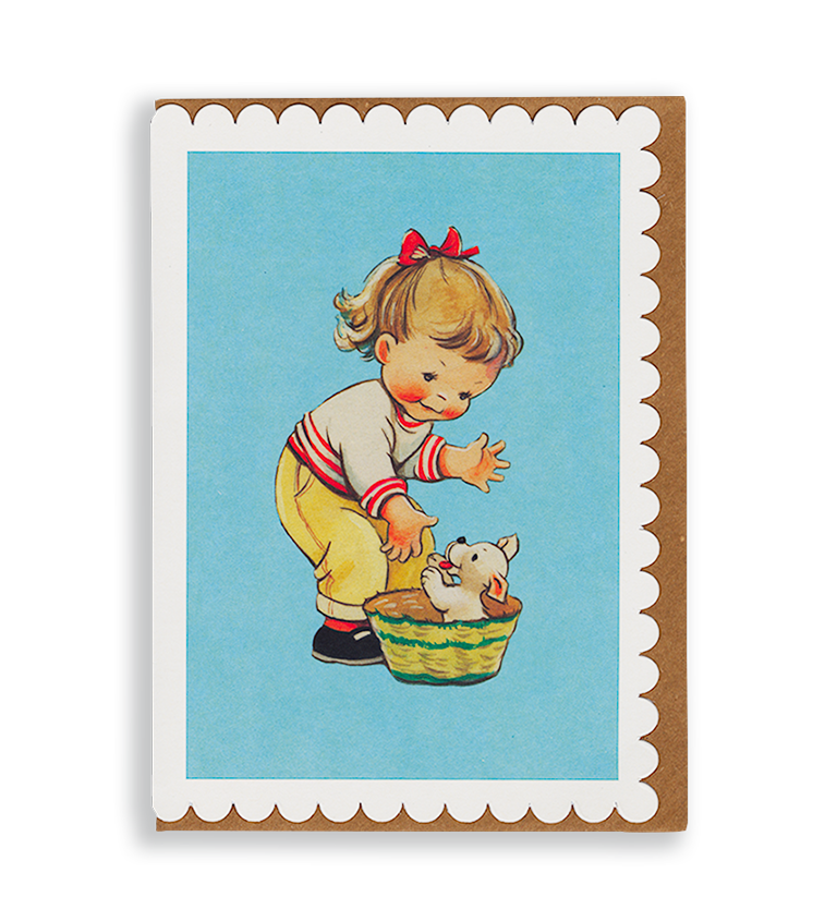 Mabel Lucie Attwell Play time! Girl and Puppy greetings card