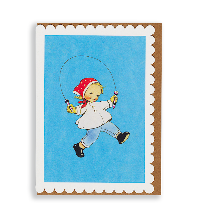 Mabel Lucie Attwell a hop and a skip! Skipping greetings card