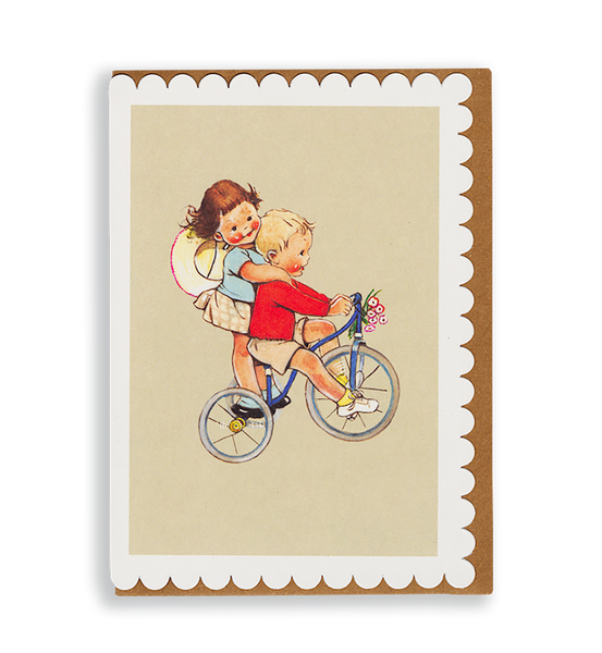 Mabel Lucie Attwell Pedalling for two! Tricycle greetings card