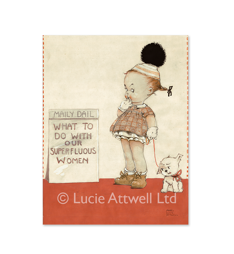 Mabel Lucie Attwell What to do with our superfluous women? limited edition print