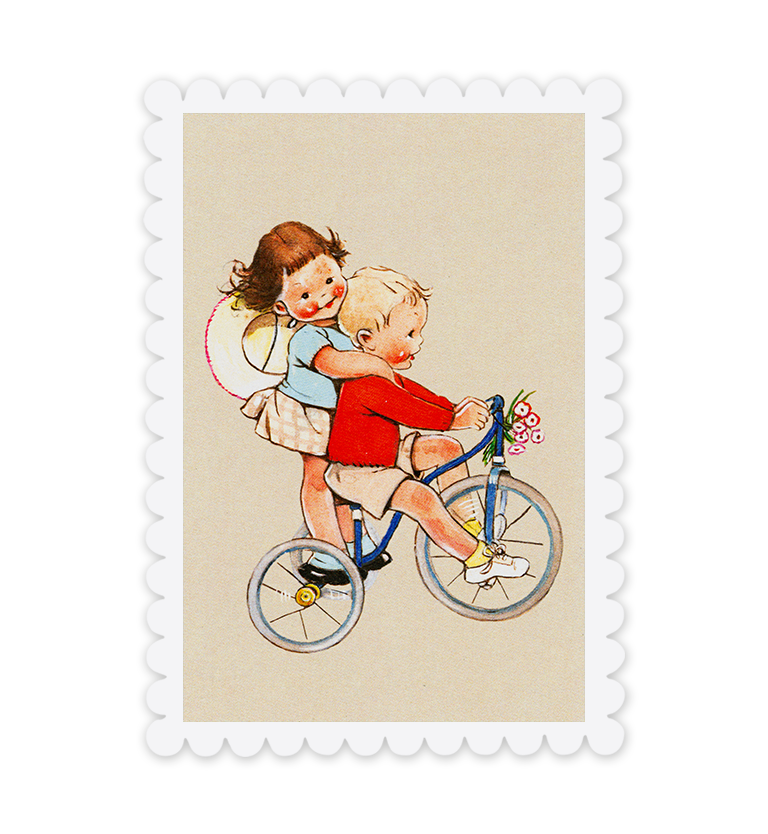 Mabel Lucie Attwell Pedalling for two! Tricycle postcard