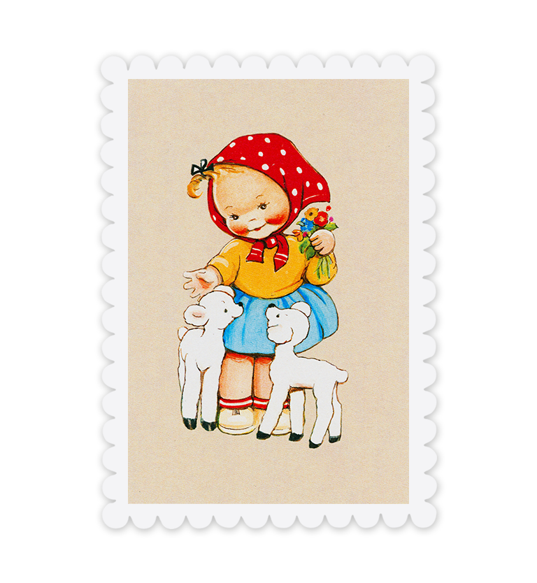 Little lambs! Girl and Lamb greetings card