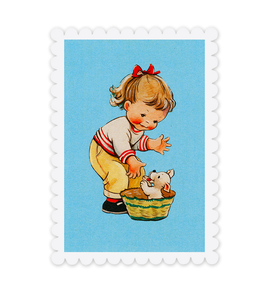 Mabel Lucie Attwell Play time! Girl and Puppy postcard
