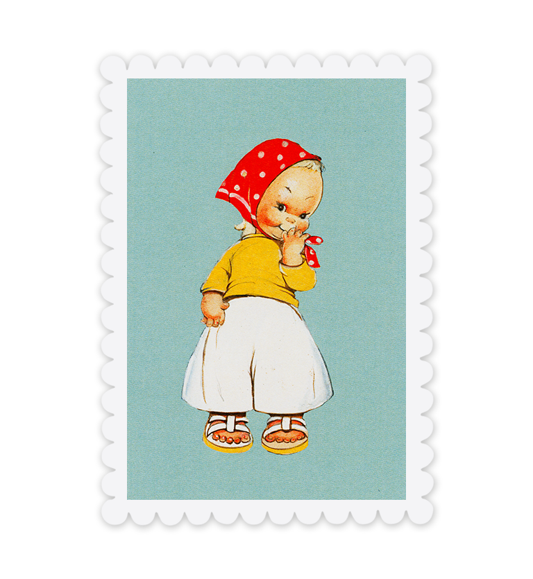 Looking cute! Headscarf postcard