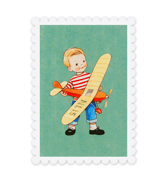 Mabel Lucie Attwell Off to fly! Plane postcard