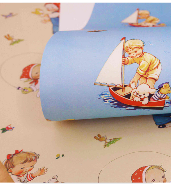 Sky blue and soft lemon wrapping paper