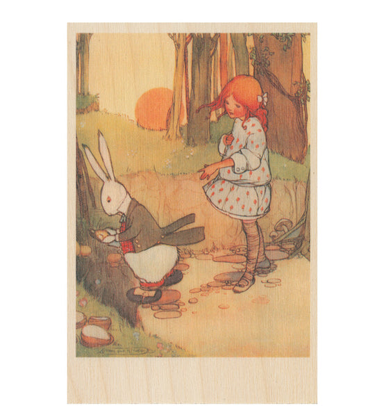 Oh Dear Oh Dear I Shall Be Too Late wooden postcard Featuring an original illustration by Mabel Lucie Attwell from Alice in Wonderland