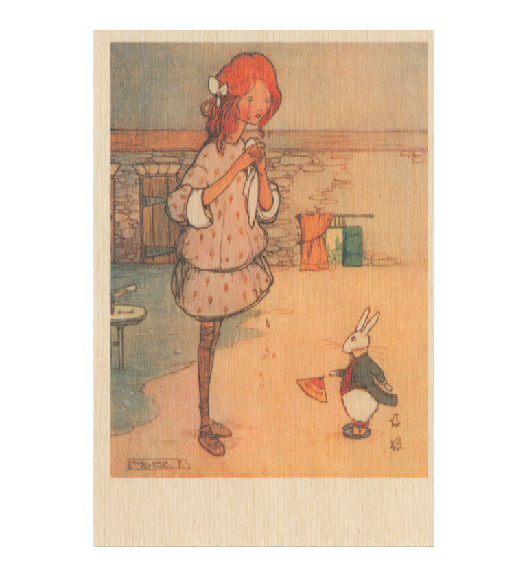 Mabel Lucie Attwell - Curiouser and curiouser wooden postcard
