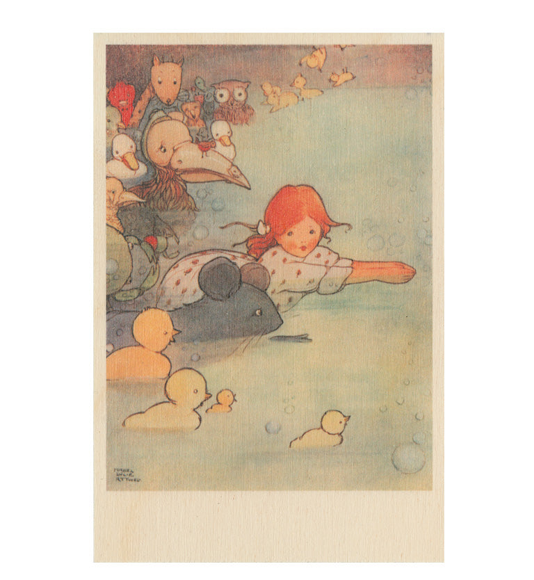 The Pool of Tears wooden postcard Featuring an original illustration by Mabel Lucie Attwell from Alice in Wonderland.