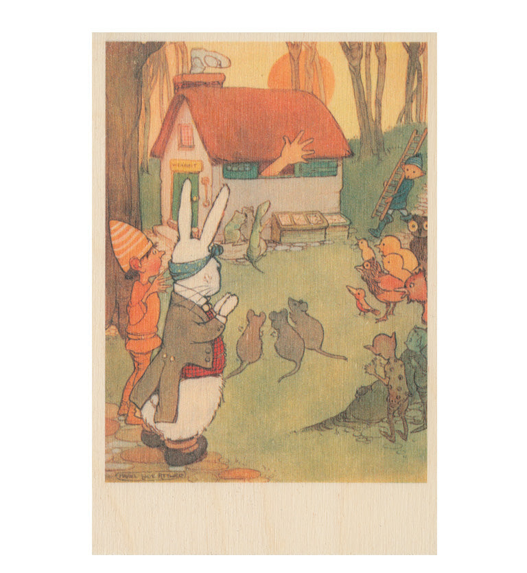 The White Rabbits House wooden postcard (Alice in Wonderland)