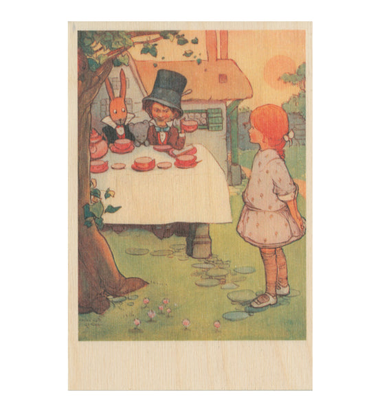 The Mad Hatters Tea Party A6 wooden postcard Featuring an original illustration by Mabel Lucie Attwell from Alice in Wonderland.
