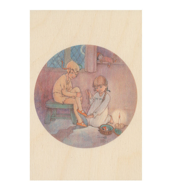 Wendy sewing on Peters shadow wooden postcard (Peter Pan and Wendy)