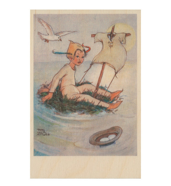 The never bird wooden postcard (Peter Pan and Wendy)