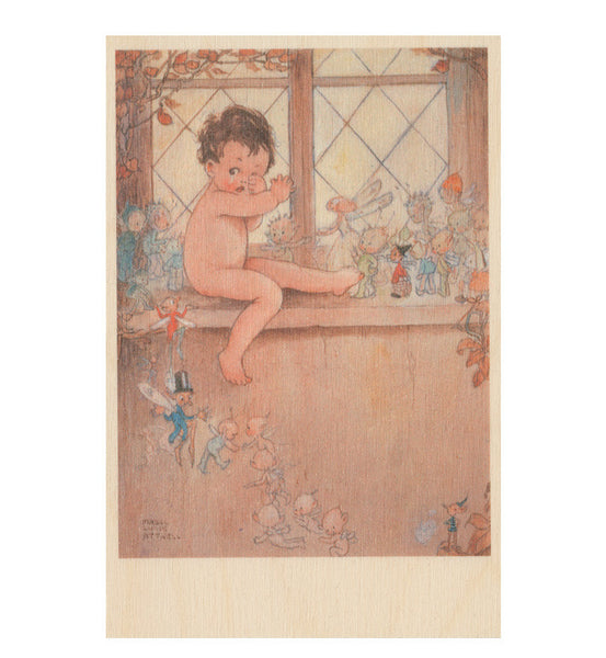 Baby and fairies wooden postcard (Peter Pan and Wendy)