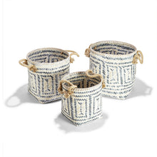 Load image into Gallery viewer, PERIVILOS  HAND-CRAFTED BASKETS WITH JUTE ROPE HANDLES - 3 Sizes