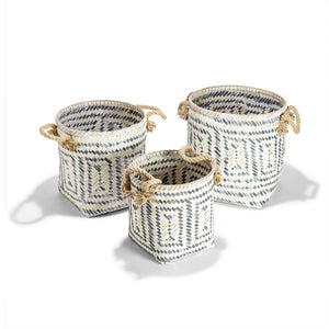 PERIVILOS  HAND-CRAFTED BASKETS WITH JUTE ROPE HANDLES - 3 Sizes