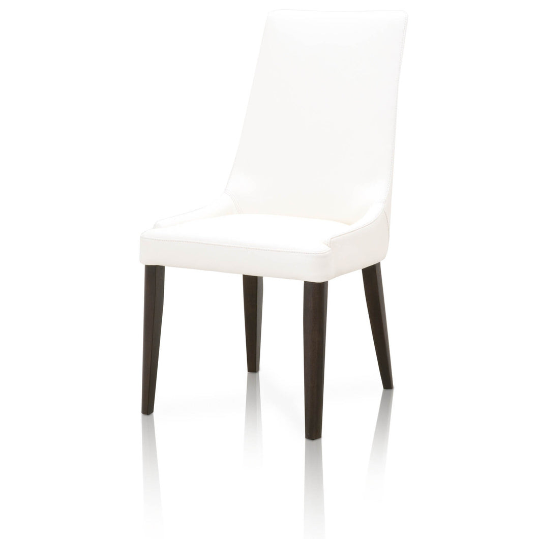 AURORA DINING CHAIR Alabaster Top Grain Leather, Dark Wenge
