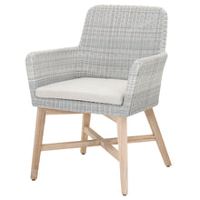 Load image into Gallery viewer, AVILA OUTDOOR ARM CHAIR Ice Synthetic Loom, Pumice Fabric, Gray Teak
