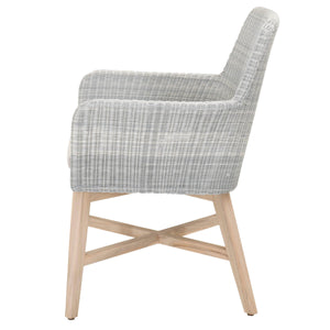 AVILA OUTDOOR ARM CHAIR Ice Synthetic Loom, Pumice Fabric, Gray Teak