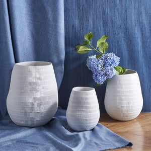 Textures Embossed Lines Organic Vase with Matte Finish - Ceramic - 2 Sizes
