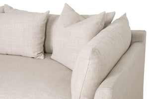 "HAVEN 110"" LOUNGE SLIPCOVER LF SECTIONAL Bisque, Espresso"