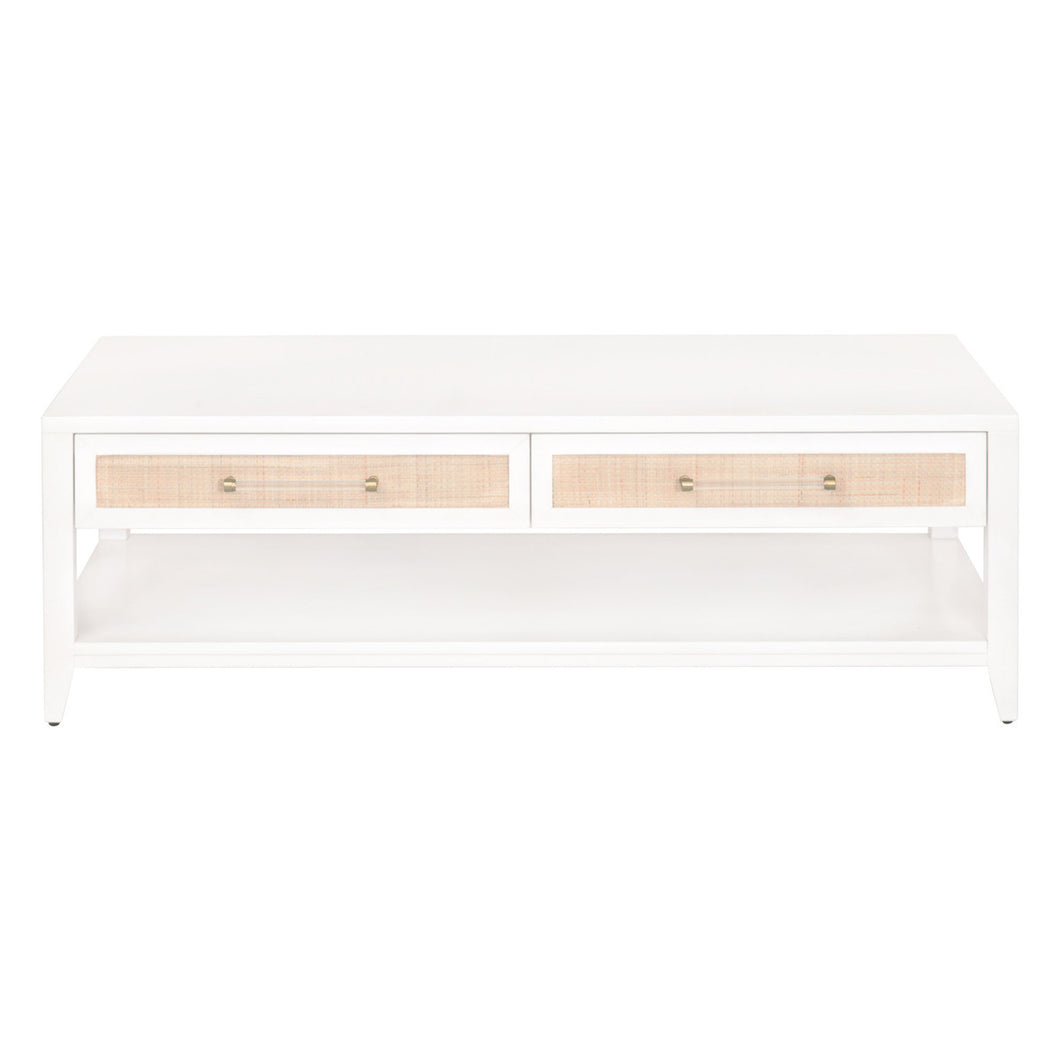 HOLLAND 4-DRAWER COFFEE TABLE Matte White, Natural Rattan