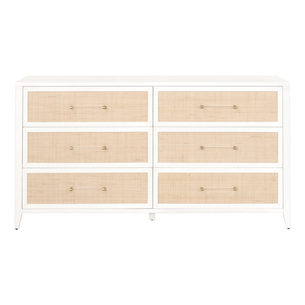 HOLLAND 6-DRAWER DOUBLE DRESSER Matte White, Natural Rattan