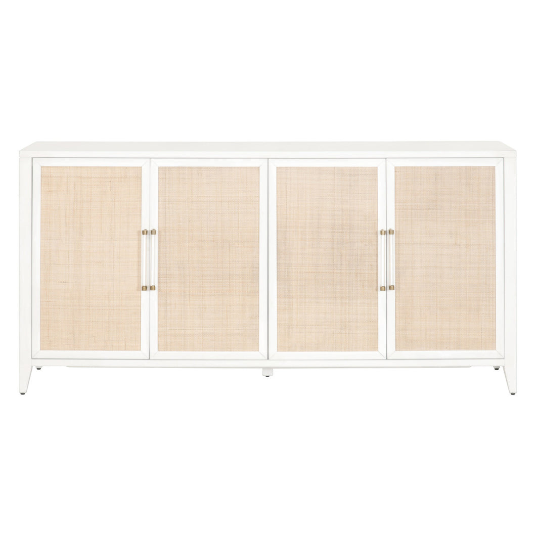HOLLAND MEDIA SIDEBOARD Matte White, Natural Rattan
