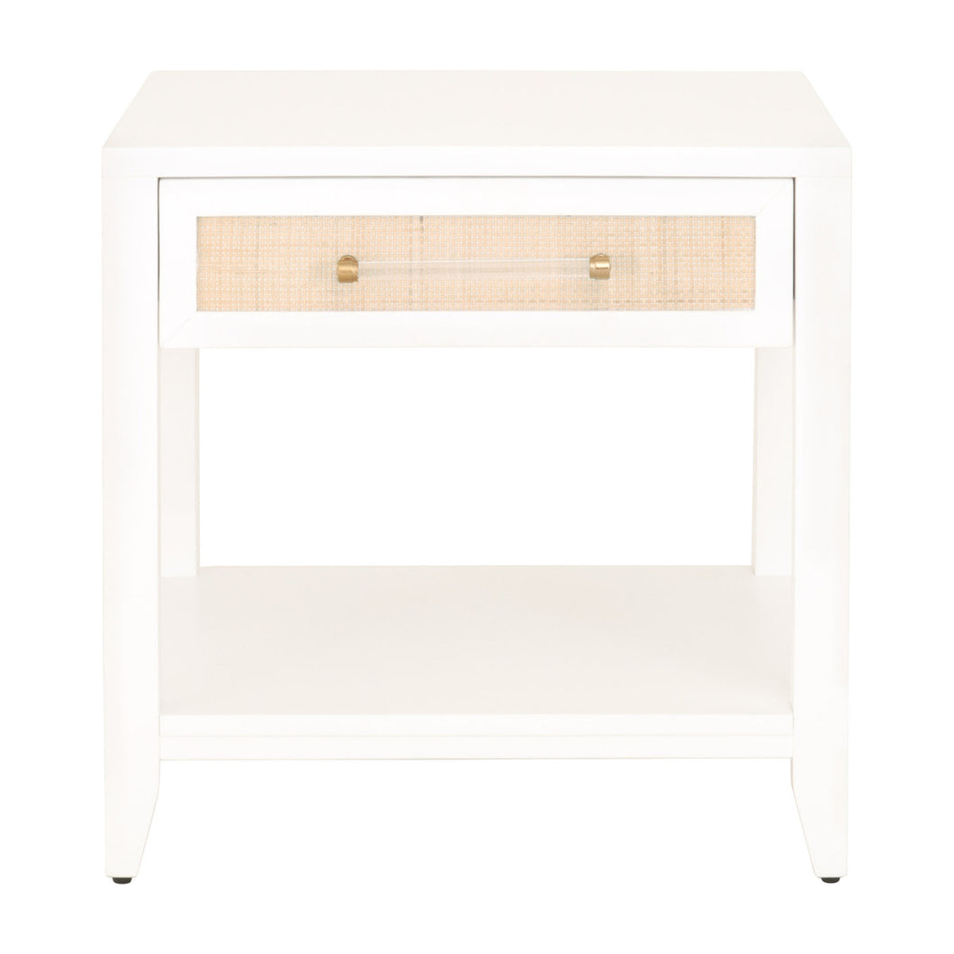 HOLLAND 1-DRAWER SIDE TABLE Matte White, Natural Rattan