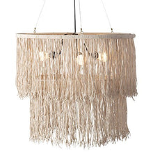 Load image into Gallery viewer, Bryer Fringe Drum Chandelier with Leather Tassles (28x28x22).