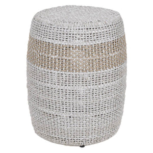 LOOM ACCENT TABLE Taupe & White Flat Rope, Taupe Stripe