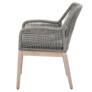 LOOM OUTDOOR ARM CHAIR Platinum Rope, Smoke Gray, Gray Teak