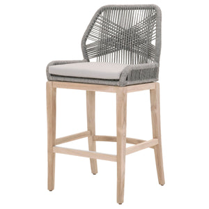 LOOM OUTDOOR BARSTOOL Platinum Rope, Smoke Gray, Gray Teak