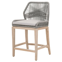 Load image into Gallery viewer, LOOM OUTDOOR COUNTER STOOL Platinum Rope, Smoke Gray, Gray Teak