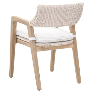 LUCIA OUTDOOR ARM CHAIR White Synthetic Loom, White Speckle, Gray Teak