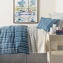 Load image into Gallery viewer, MEDITERRANEAN TICKING LINEN DUVET COVER
