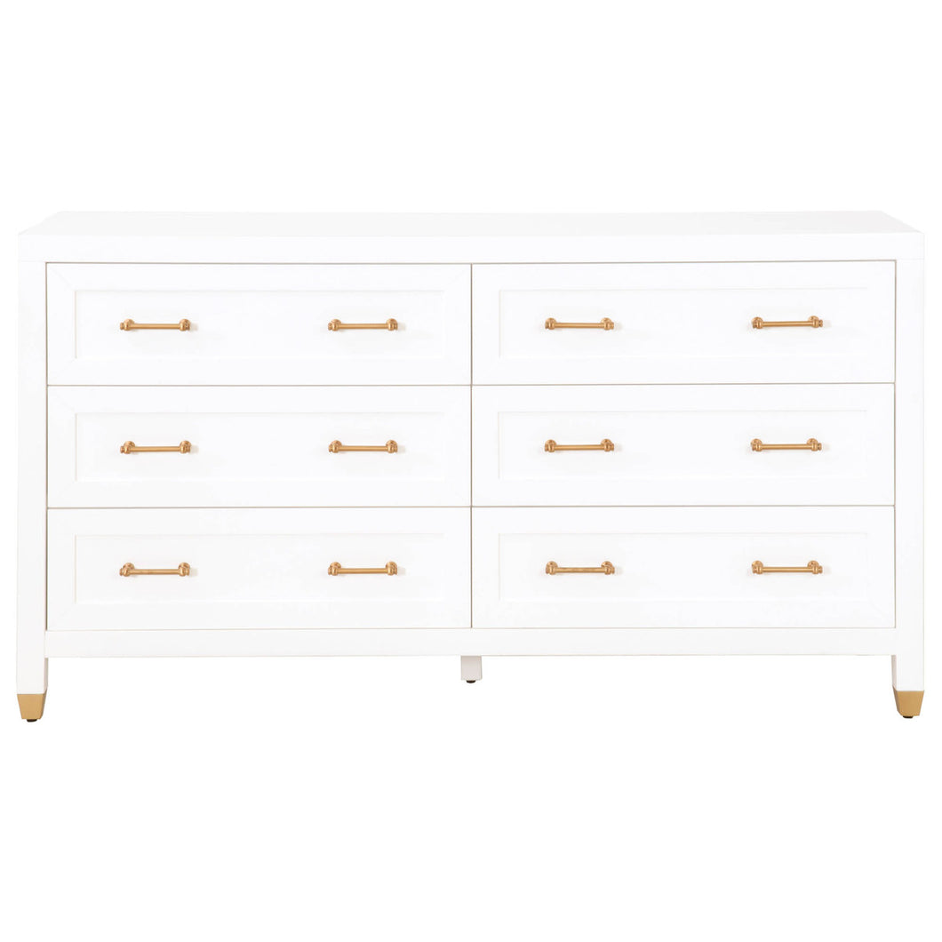 STELLA 6-DRAWER DOUBLE DRESSER - Matte White