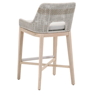 TAPESTRY OUTDOOR BARSTOOL Taupe & White Flat Rope, Taupe Stripe, Pumice, Gray Tea