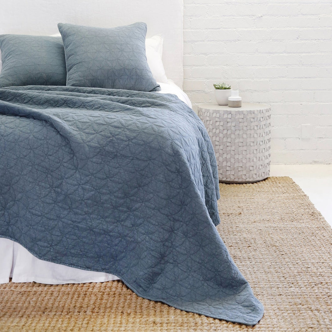 OSLO - BLUE DENIM COVERLET/ BLANKET