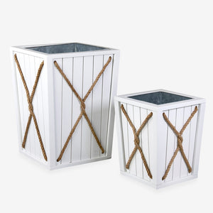 Montauk Planter Box Set with Rope Detail, White
