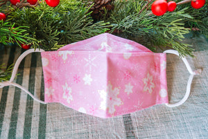 Pink Snowflakes Origami Mask