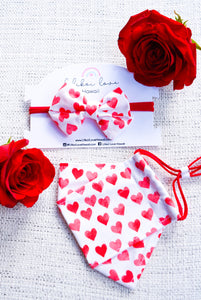 Red Hearts Bow