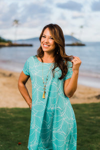 Teal Ihilani Hibiscus—Dress Maila
