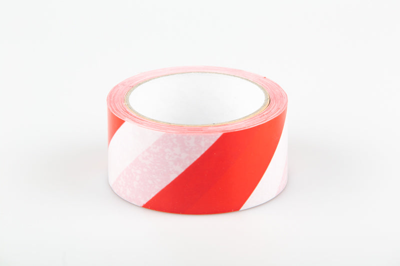 Safe Distance Red/White Warning - Floor Tape