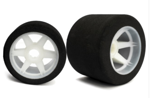 BULK PURCHASE (10 SETS) Hotrace 1:8 32/35 Shore Front/Rear Tyres Mounted on Light Rims.